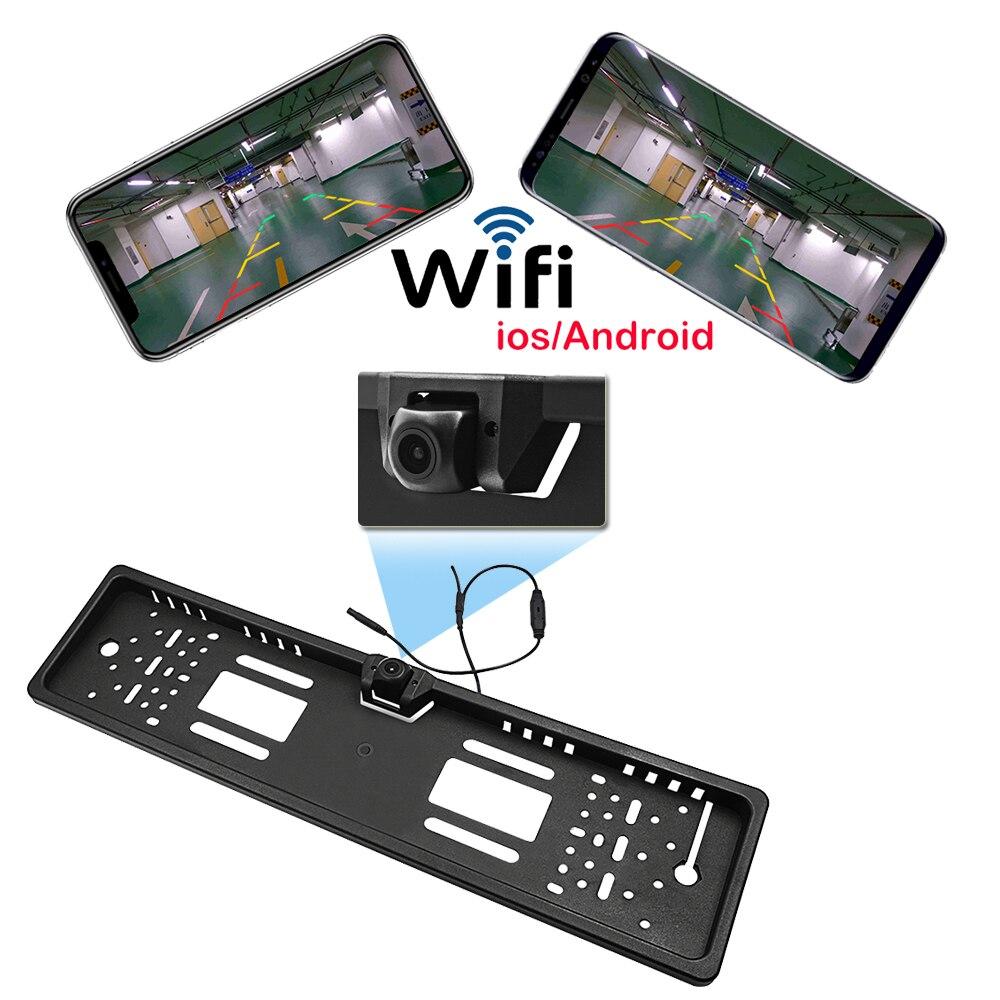 Voiture Wifi cadre de plaque d'immatriculation européenne sans fil caméra de vue arrière étoile Vision nocturne caméra de recul pour iPhone/IOS Android