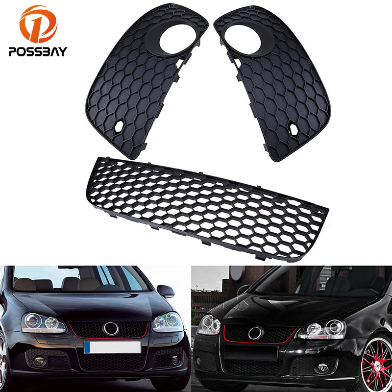 цена на POSSBAY 3 Pcs Car Black Front Center Bumper Fog Light Lamp Cover Lower Grille For VW Golf MK5 GTI 2004 2005 2006 2007 2008 2009