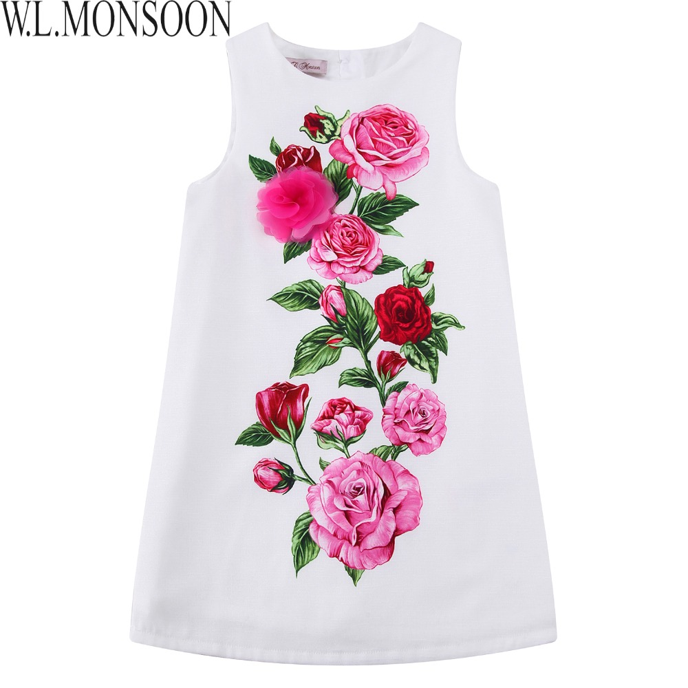W.L.MONSOON Girls Summer Dresses Christmas Clothes 2017 Brand Costume for Kids Princess Dress Flower Embroidery Children Costume цена