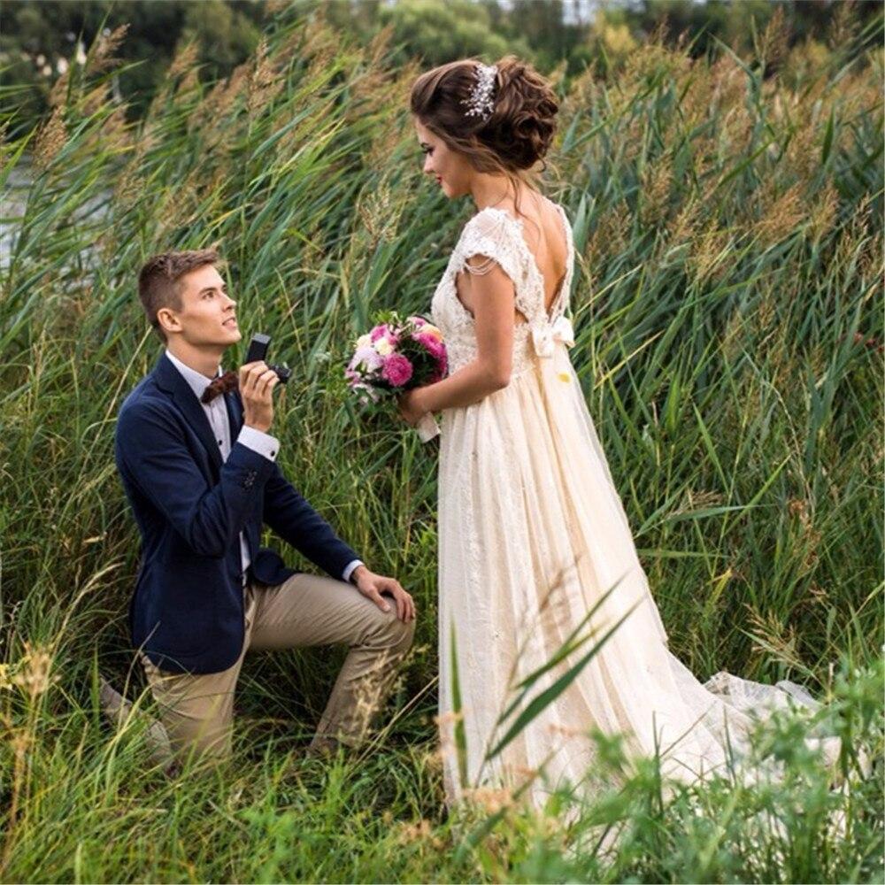 Robe de mariée Sexy Boho longue dos nu blanc plage robe de mariée Appliques dentelle col en V princesse robe de mariée livraison gratuite - 4