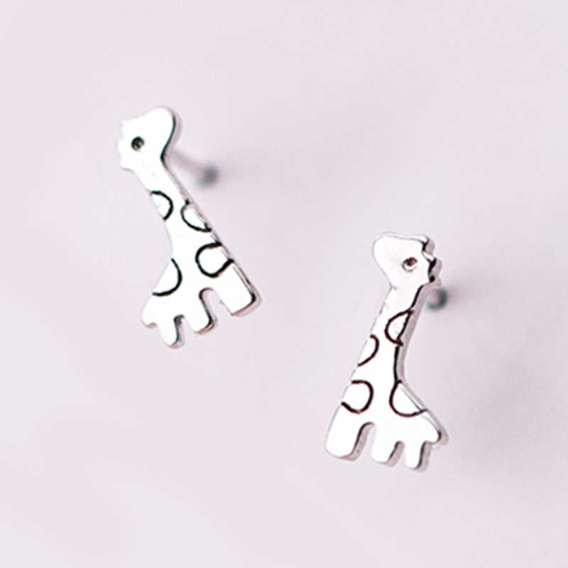 여성을위한 정품 100% 925 스털링 실버 기린 스터드 귀걸이 간단한 동물 패션 파티 쥬얼리