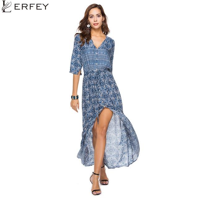 212286603b LERFEY Women Bohemian Long Loose Beach Maxi Dress Summer Casual Vintage Print  V Neck Half Sleeve Split Dresses Vestidos