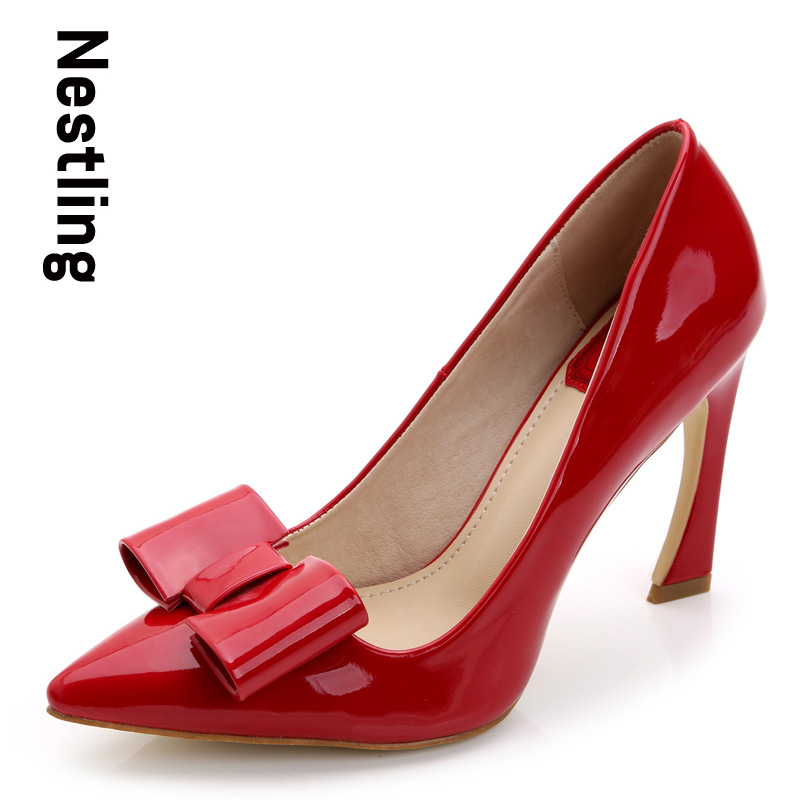 Size 34-42 New 2017 Fashion Red Wedding Shoes Patent Leather Women Pumps Sexy Pointed Toe Bowtie High Heels Party Shoes Woman 15 bowknot pointed toe women pumps flock leather woman thin high heels wedding shoes 2017 new fashion shoes plus size 41 42