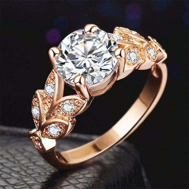 Nowy Styl Kształt Liści Wedding Ring Klasyczne Dimond Pierścionek