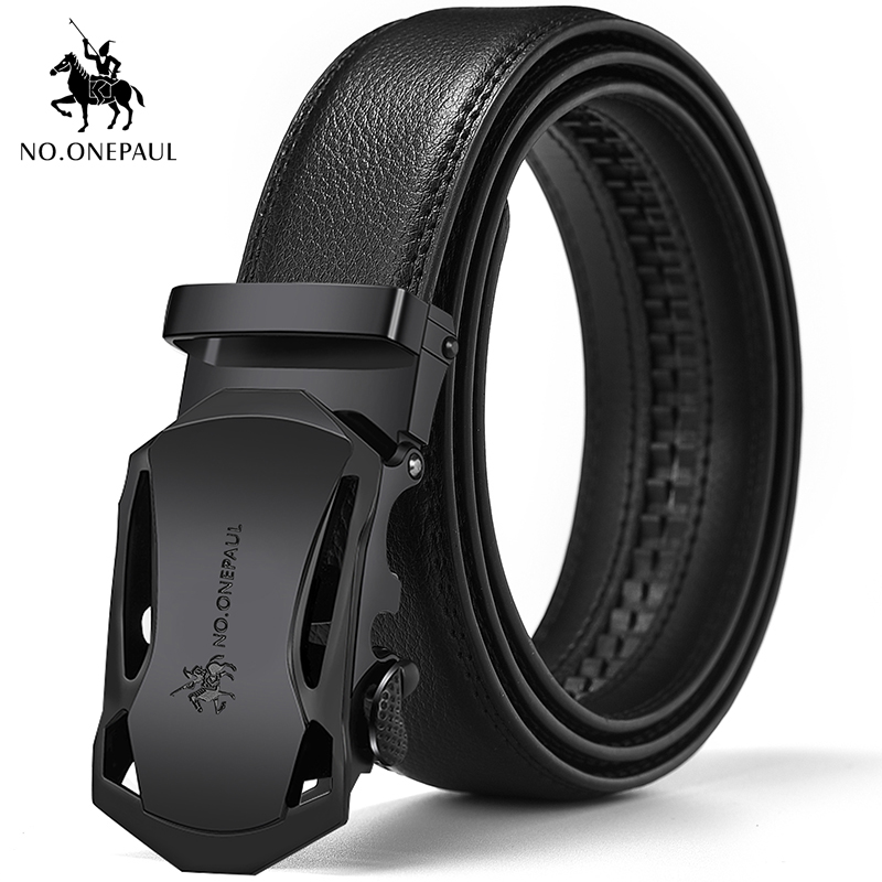 NO.ONEPAUL Leather Belt Men's Leather Automatic Buckle Belt Men's Belt Suit Pants Youth Black Belt Free Shipping Good Quality
