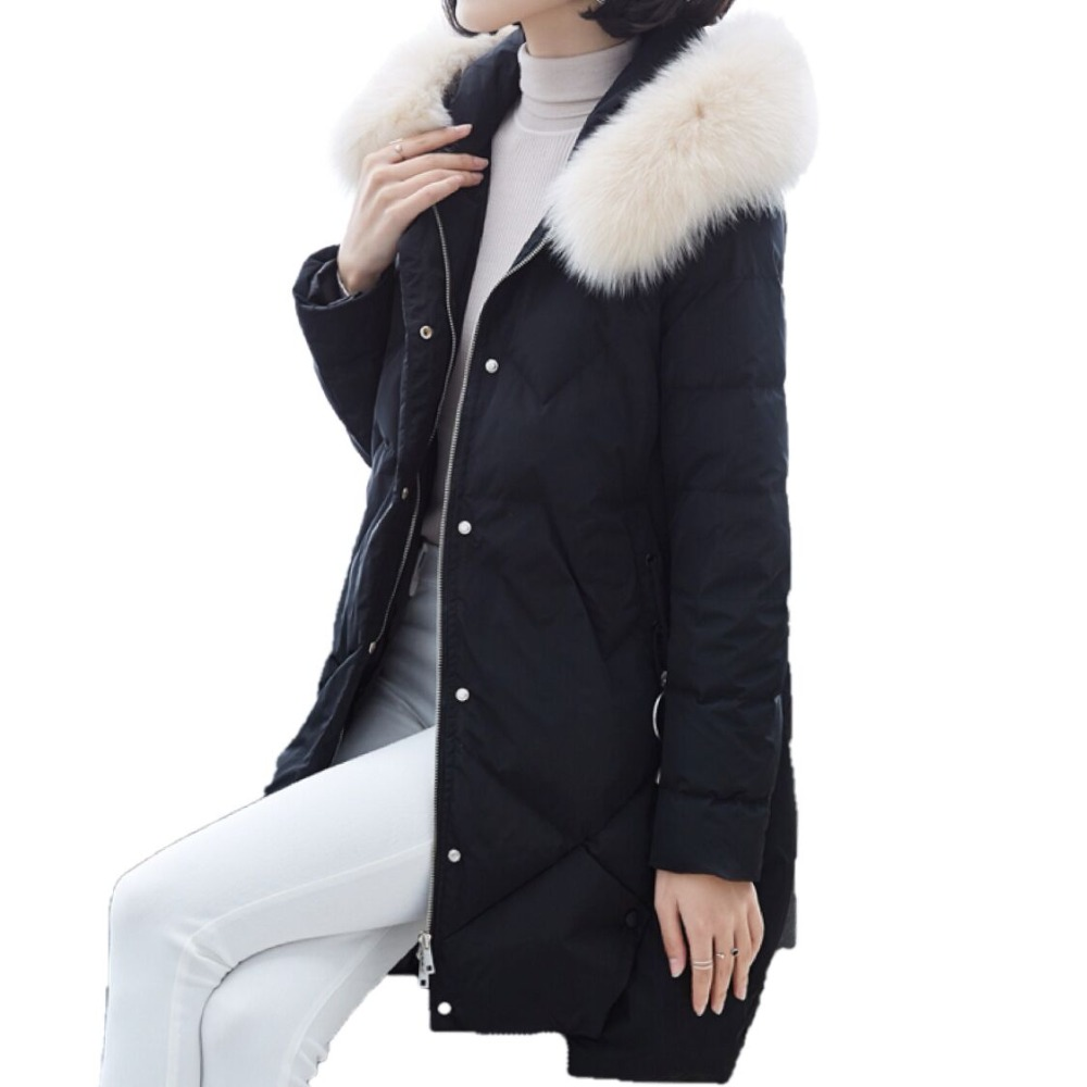 Women New Winter White Duck   Down     Coat   Hooded Real Fox Fur Collar   Down   Jacket Female Long Snow Wear Thick Warm Parkas Outwear Y18