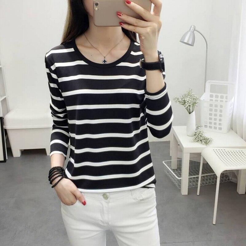 Fashion 2018 Autumn Spring Women Casual vintage Striped Long Sleeve round neck T-shirt Tops Tee camisa feminina