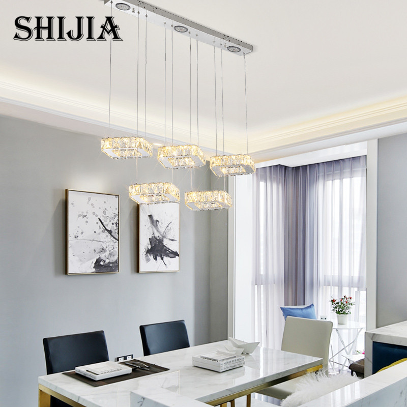 Minimalism Crystal Hanging Modern Led Pendant Lights For Dining Room Bar suspension Pendant Lamp Lighting Fixture