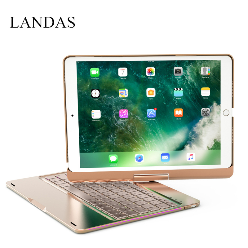 Landas 360 Degree Smart Keyboard For iPad Pro 10.5 Backlit Aluminum Bluetooth Wireless Keyboard Case For iPad 10.5 A1701 A1709 ...