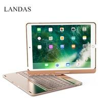 Landas 360 Degree Smart Keyboard For IPad Pro 10 5 Backlit Aluminum Bluetooth Wireless Keyboard Case