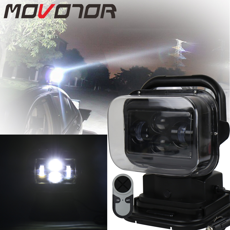 360 degree Remote Control 60W Marine LED Spot Light 4x4 Headlights 12/24v 7 Inch Led searching light for Off Road Vehicles