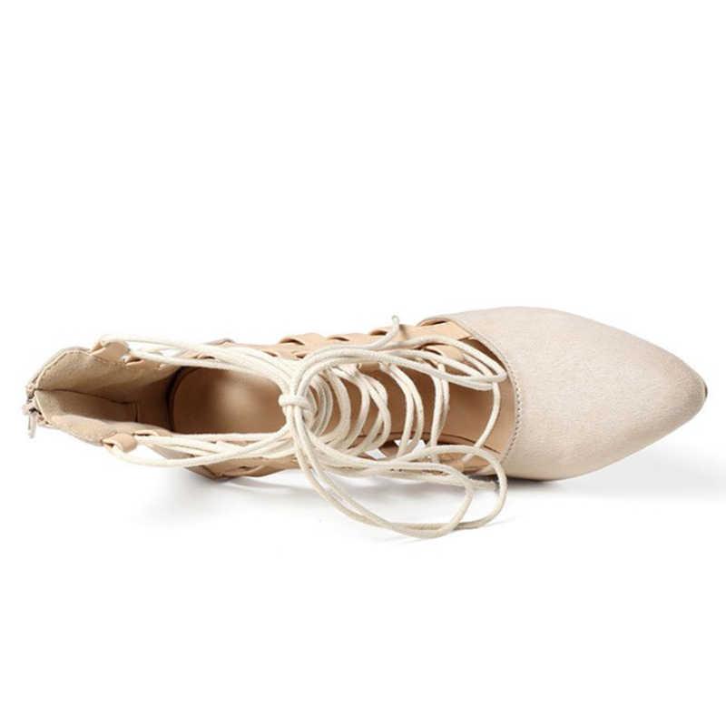 2019 New Roman Lace up รองเท้าแฟชั่นผู้หญิงรองเท้าส้นสูงสีดำ Pointe Toe Gladiator รองเท้าแตะฤดูร้อนปั๊มข้อเท้ารองเท้า WXG707