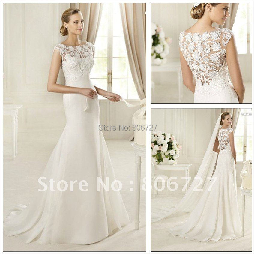 Buy hot selling mermaid sweep train satin for Lace flower wedding dress
