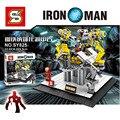 Marvel Super Heroes Avengers Homem De Ferro Tony Stark figuras Tijolos para Construção de Base Armadura Mech sy825 Lepin Compatível