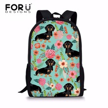FORUDESIGNS Middle School Students Backpack Doxie Dachshund Printing Bags for Teenager Girls Fashion Shoulder Bag Bolsa