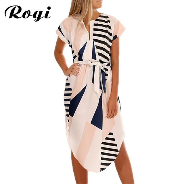 58d97f61010 Rogi Women Dress Casual Short Sleeve V Neck Summer Midi Dresses Bandage  Tunic Geometric Print Boho Beach Dress Vestido de festa
