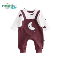 High Quality Baby Rompers Straps Pants Baby Boy Girl Clothing Cartoon Star Moon Lovely Funny Long