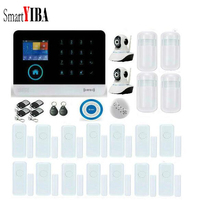 SmartYIBA WIFI App Control Wireless WIFI GSM Alarm System Smoke Sensor 2pcs IP Cameras 14pcs Door