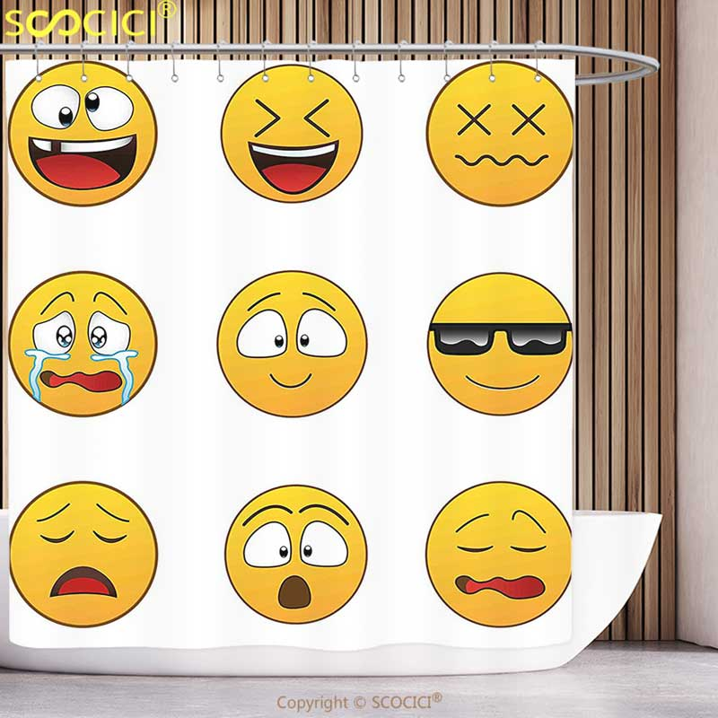 Fun Shower Curtain Emoji Cartoon Like Vintage Old Smiley Faces with Angry  Sad Nervous Mood Expression Print Multicolor Bathroom