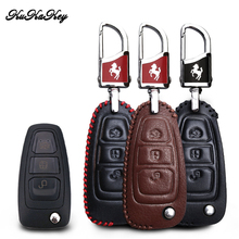 KUKAKEY Leather Car Key Case Bag For Ford New Focus Ecoboost Fiesta Ecosport Mondeo Cover Styling Accessories