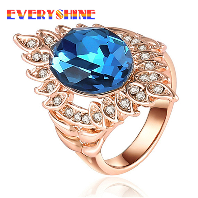 Hot 2018 Female Gems and flowers Ring personality Fashion Jewelry Wedding Rings For Women Birthday Stone Gifts for girls JPB467