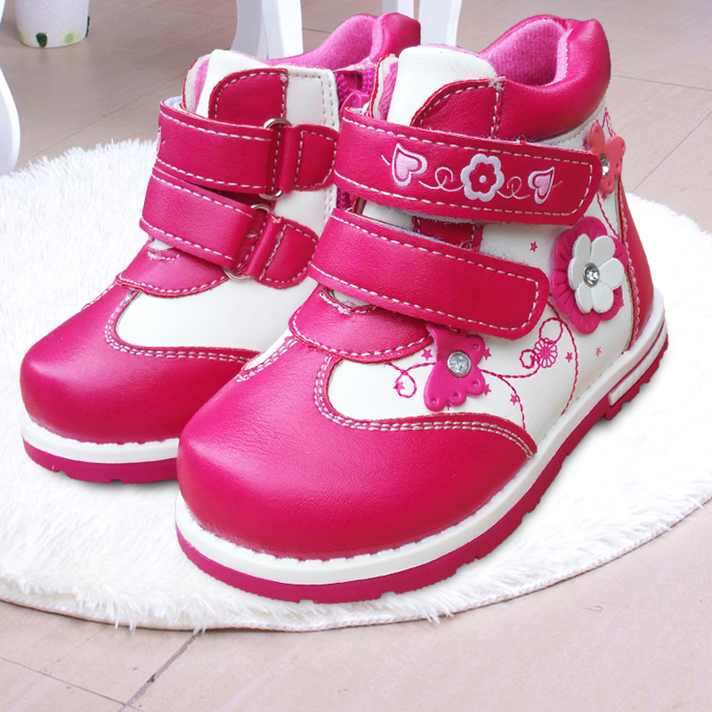 Super quality 1pair Autumn Flower BRAND Boots Fashion Children Boot Kids PU Leather Baby Shoes inner