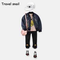 Travel Snail Jaqueta Jeans Jacket Girl Kinderkleding Baby Jacket Girls Kids Coat Boys Jacket 2 7yrs