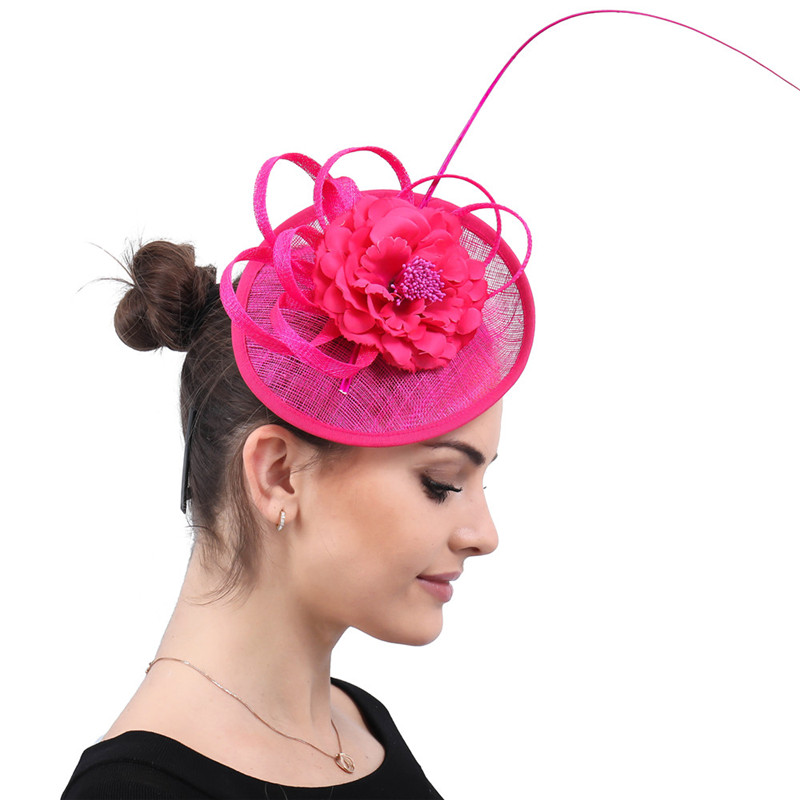 81a8fc18cec19 Aliexpress.com   Buy Classic spring Hot pink linen Fascinators with silk  flower Racing Season Ladies Wedding Hats red Cocktail Party Event Occasion  from ...