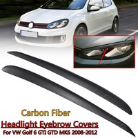 1 Pair Real Carbon Fiber Front Headlight Eye Lid Trim Eyebrow Covers For VW Golf 6 R20 GTI GTD MK6 2008 2012