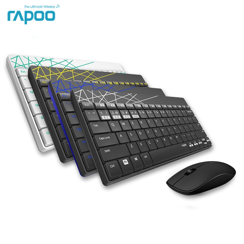 New Rapoo 8000M Multi-mode Silent Wireless Keyboard Mouse Combos Bluetooth 3.0&4.0 RF 2.4G switch between 3 Devices Connection