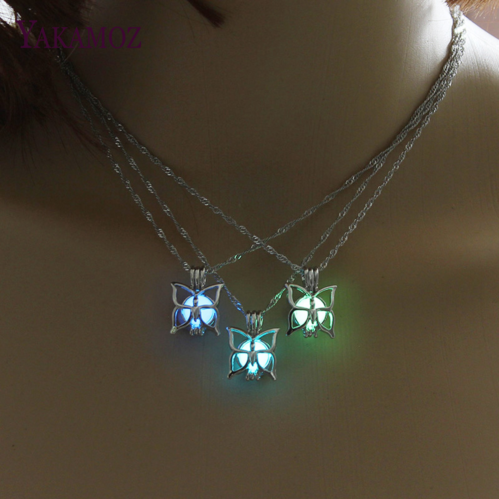 Cutest Butterfly Necklace Glow in the Da