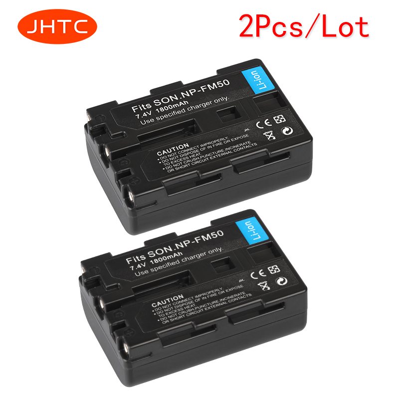 JHTC 2pcs/lot 1800mAh NP-FM50 NP FM50 FM55H Batteries Pack For Sony NP-FM51 NP-FM30 NP-FM55H DCR-PC101 A100 Series DSLR-A100