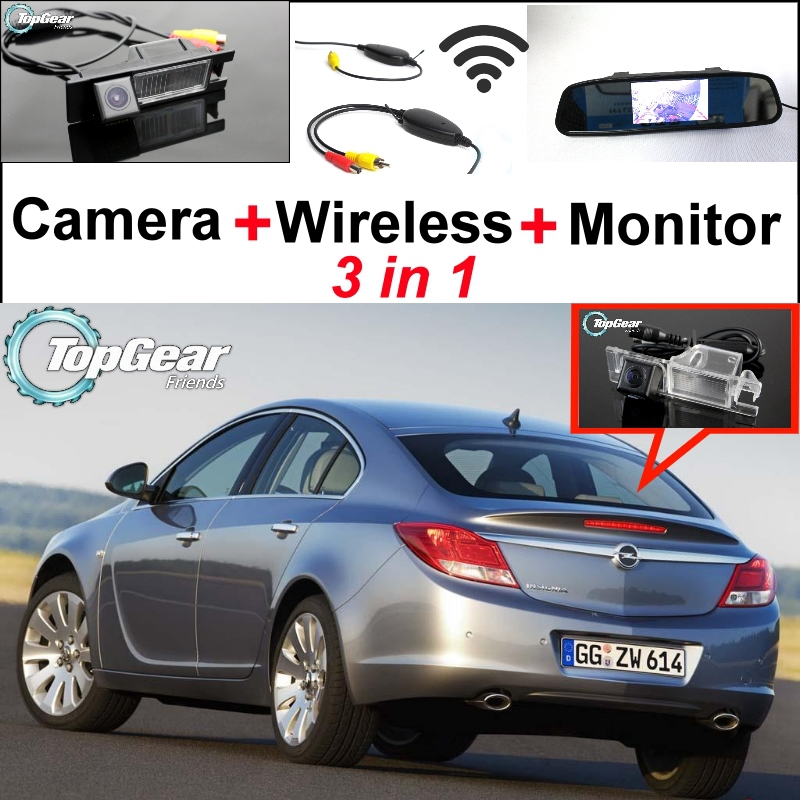 3 in1 Special WiFi Camera + Wireless Receiver + Mirror Monitor EASY DIY Backup Parking System For Opel Insignia 2009~2014 3 in1 special rear view camera wireless receiver mirror monitor back up parking system for citroen ds3 ds 3 2009 2015