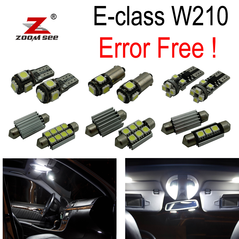 19pc x 100% Error free LED Interior dome Reading Light Kit For Mercedes Benz E class W210 Sedan E300 E420 E320 E430 (95-02) auto fuel filter 163 477 0201 163 477 0701 for mercedes benz