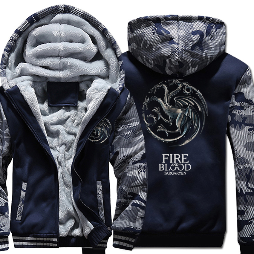 FIRE AND BLOOD Print Hoodies For Men 2019 Autumn Winter Streetwear Mens Sweatshirts Game Of Thrones Hoody Targaryen Harajuku Top