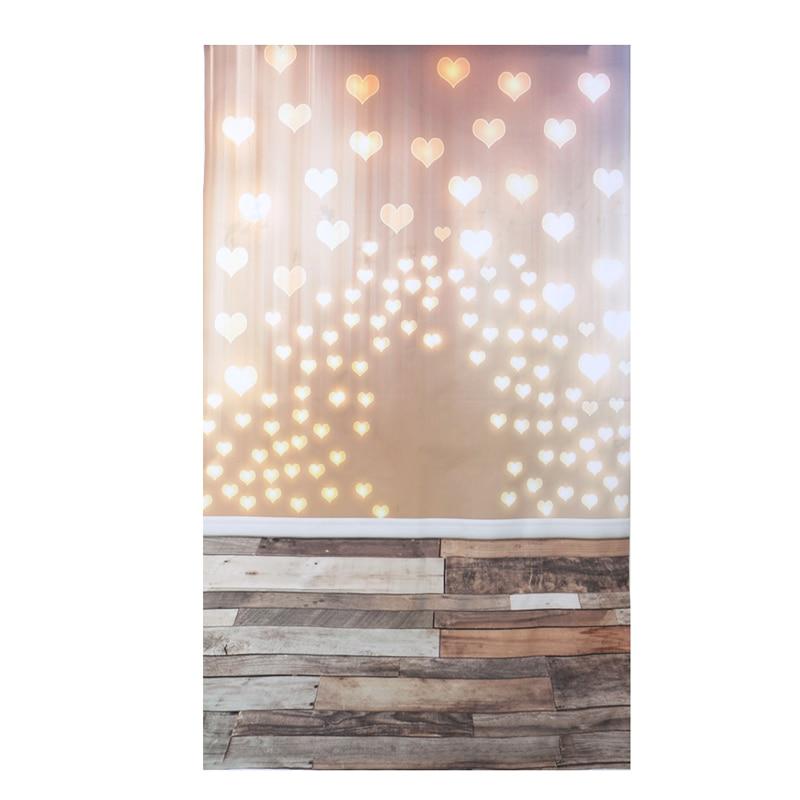 где купить 3x5ft Photo Vinyl Background Love Heart Shaped Light Wood Photographic Backdrop по лучшей цене
