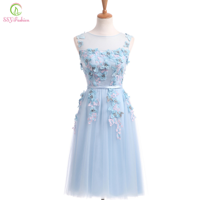SSYFashion New Fresh Light Blue Lace Butterfly Flower Short Evening Dress  The Bride Banquet Sweet Party Gown Custom Formal Dress b3a9b95eaebd