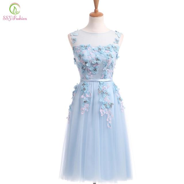 4326b2a956c7 SSYFashion Nuovo Azzurro Fresco Pizzo Farfalla Fiore Corto Abito Da Sera  Della Sposa Banchetto Dolce Vestito