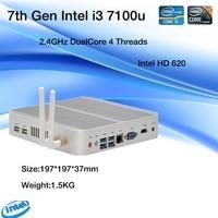 7th Gen Intel Kaby Lake Core i3 7100U Mini PC Windows 10 HDMI+VGA Commercial pc minipc 4K HTPC Intel HD Graphics 620 Fanless PC