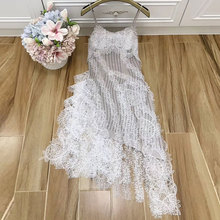 Baogarret Embroidery Diamond Ruffle Irregular Strap Dress Summer Designer Sexy Party Womens High Quality Robe Femme
