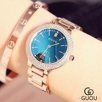 GUOU Brand Diamond Rhinestone Watch Luxury Blue Glass Watch Women Watches Full Steel Women S Watches