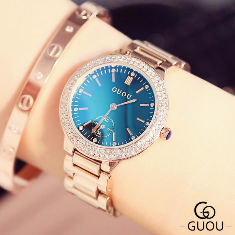 GUOU Luxury Diamond Watch Fashion Blue Glass Ladies Watch Women Watches Women's Watches Clock saat bayan kol saati reloj mujer cartoon gold horse print blue leather strap sports ladies quartz watch relojes hombre 2017 bayan saat women watches hodinky b133