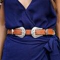 BL09 Ajustável Duplo Fecho de Fivela de Cinto Das Mulheres PU Leater Cinturones Mujer De Metal Cintura Cinto Cinto Largo Elástico Do Vintage Preto