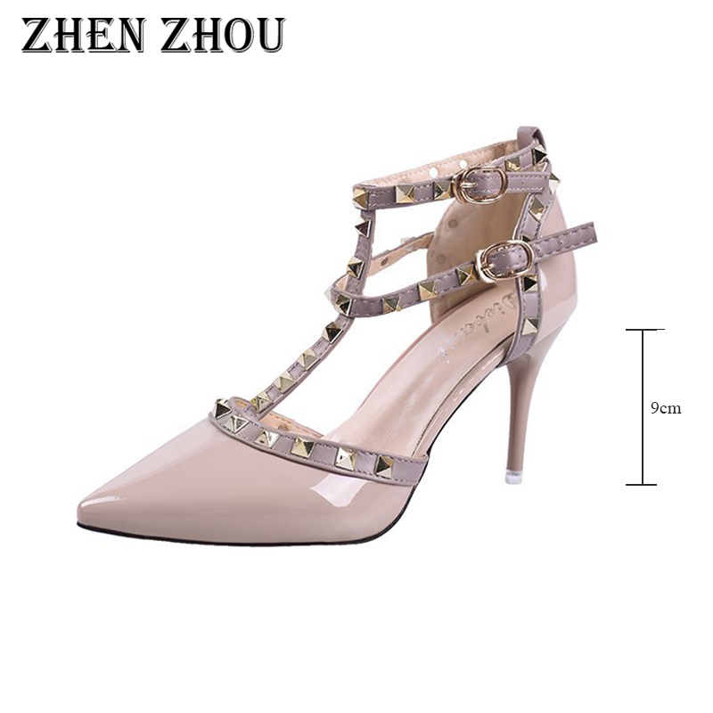 318589a27a61 2018 summer and Autumn Nude color rivet High heeled single shoes sexy pumps  sandals Ankle strap