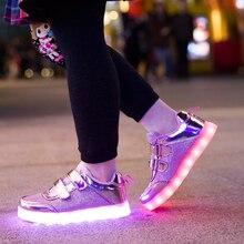 Дети Мода Кроссовки USB Зарядки Дети СВЕТОДИОДНЫЕ Светящиеся Обувь 2016 НОВЫЕ Мальчики Девочки Красочные Мигающие Огни Обуви Золото И Щепка