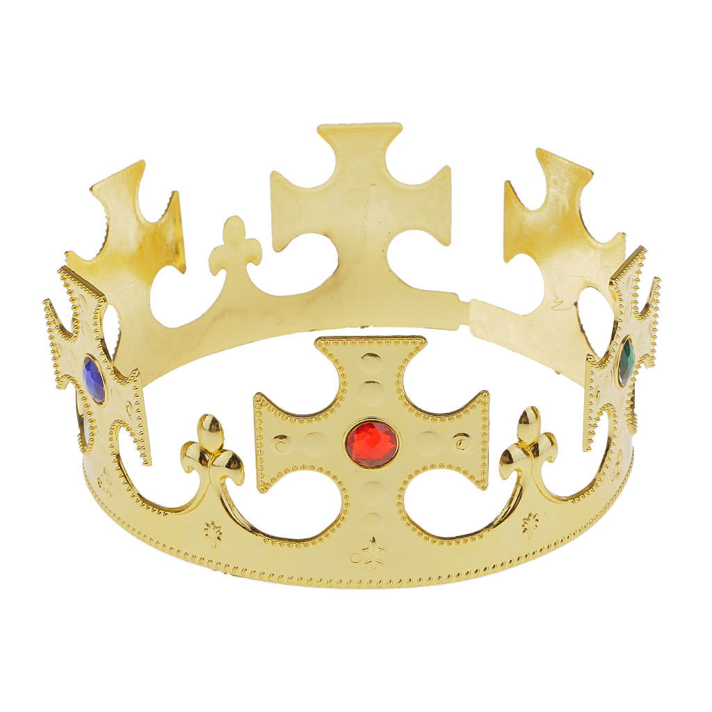Novelty Gold Plastic Kings Queens Crown Hat Royal Fancy Dress Party Costume Hat Birthday Headwear For Adult Boys Girls