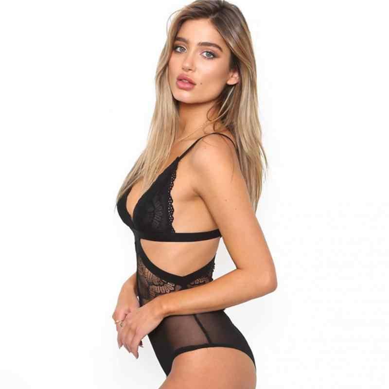 Sexy głębokie V neck koronki siatki szydełka body kobiety Slim Fit Romper kombinezon główna ulica body topy dla kobiet odzież #918