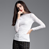 European And American Women S Autumn And Winter Models Round Neck Slim Hollow Long Sleeved Shirt
