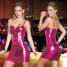 Women's Glossy Sexy Mini Dress with Zipper