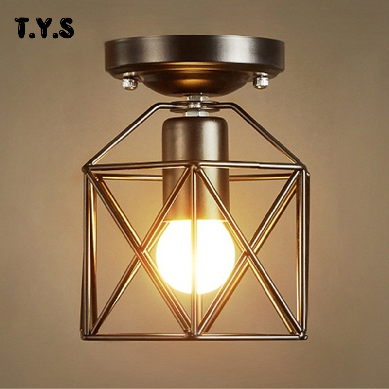 Vintage Ceiling Lights Modern Led Birdcage Retro Loft Ceiling Lamp Shade Home Lighting Luminaire Living Dining Room Light Cage copper retro vintage led ceiling lights
